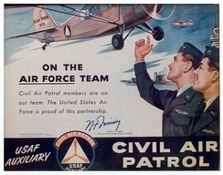On the Team, Civil Air Patrol poster (1955) featuring an Air Force airman and a CAP cadet, with a CAP L-16 and an Air Force F-94 flying overhead. This poster features the signature of then-Chief of Staff of the United States Air Force, Gen. Nathan F. Twining.