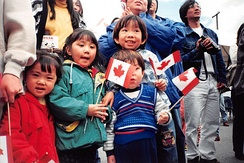 Fifth wave Canadian children celebrating Canada Day, Vancouver, 1 July 1999