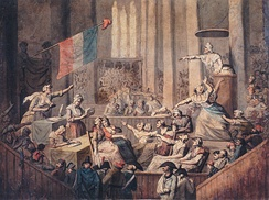 Club of patriotic women in a church