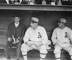 Hall of Fame manager Connie Mack wearing a suit instead of a team uniform