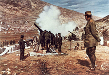 Crown Prince Constantine watching heavy artillery during the Battle of Bizani
