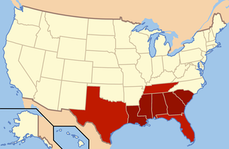 The states in dark red compose the Deep South today. Adjoining areas of East Texas, West Tennessee, and North Florida are also considered part of this subregion. Historically, each of these states were in the Confederate States of America.