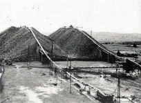 Slag heaps at Forminière's diamond installations in Kasai, c.1959