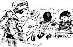 February 1918 drawing by Marguerite Martyn of a visiting nurse in St. Louis, Missouri, with medicine and babies