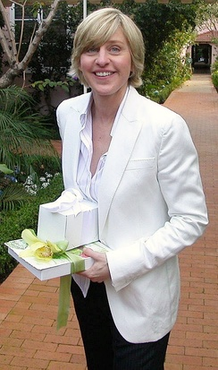 DeGeneres attending Oprah Winfrey's 50th birthday party in Los Angeles, California, in January 2004