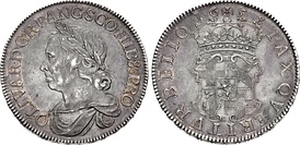 Photo of a 1658 silver Crown coin featuring Oliver Cromwell