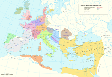Europe at the fall of the Western Roman Empire in 476 AD.