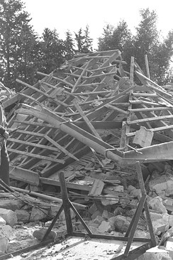 A demolished farmhouse in Tel Mond, Israel, after a fedayun attack.