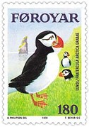 Faroese stamp of 1978 showing a puffin