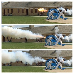 Firing of a 6-pound cannon