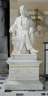Statue of Stephens cast in Georgia marble by Gutzon Borglum given in 1927 to the National Statuary Hall, U.S. Capitol