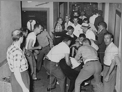 A mob beats Freedom Riders in Birmingham. This picture was reclaimed by the FBI from a local journalist who also was beaten and whose camera was smashed.