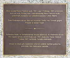 "Memorial plaque for Hatun Sürücü in Berlin. The Kurdish woman from Turkey was murdered at age of 23 by her brothers in an ""honor"" killing."
