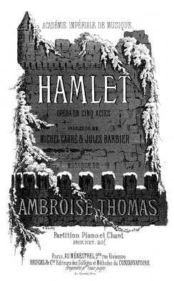 Cover of the piano-vocal score of Thomas' Hamlet (1868)