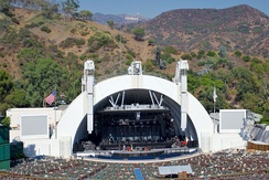 The Hollywood Bowl, California; a modern amphitheatre, adapted from the bowl-shaped, natural amphitheatre from which it gets its name. The standing structure is a bandshell