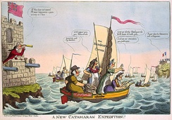 A satirical cartoon of 1805, depicting William Pitt the Younger directing operations against the French from Walmer Castle (left)