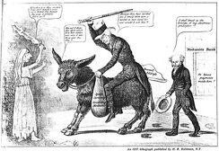 The modern balaam and his ass, an 1837 caricature placing the blame for the Panic of 1837 and the perilous state of the banking system on outgoing President Andrew Jackson, shown riding a donkey, while President Martin Van Buren comments approvingly