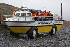 LARC V vehicle in use for tourist trips on Iceland – Jokulsarlon icelake