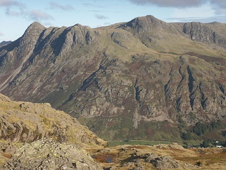 Harrison Stickle, the highest of the Langdale Pikes, in the right centre of the group