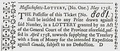 Massachusetts Lottery Ticket 1758 French & Indian Wars