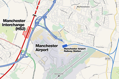 In the future Manchester Airport could benefit from construction of a nearby high-speed rail station linking the airport with the South and Central Manchester
