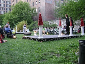 A production of John Reed's All the World's a Grave in the New York Marble Cemetery, which does not contain headstones