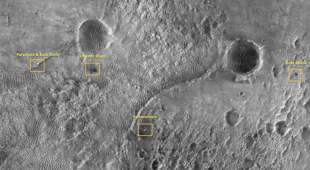 Overview of the landing site with spacecraft debris (satellite image, February 2021)