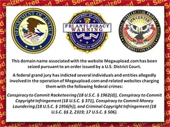 The seized domain name redirected to this photo of the joint FBI, DoJ, and NIPRCC notice of U.S. crime charges.