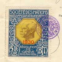 A stamp in a Nansen passport, Nansen International Office for Refugees