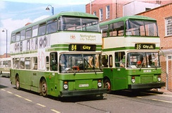 Between 1966 and 1988, Nottingham City Transport specified its own design of bodywork on double-decker buses from several different manufacturers, like this Northern Counties bodied Leyland Atlantean and East Lancashire bodied Volvo B10M