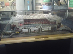 Peter Oldfield-Edwards' scale model of Old Trafford on display in the club museum in March 2010