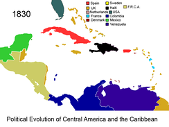 Federal Republic of Central America and British colony of the Mosquito Coast in 1830