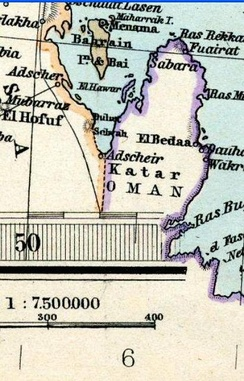 Qatar in an 1891 Adolf Stieler map