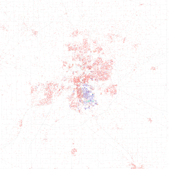 Map of racial distribution in Fort Wayne, 2010 U.S. Census. Each dot is 25 people: White, Black, Asian, Hispanic or Other (yellow)