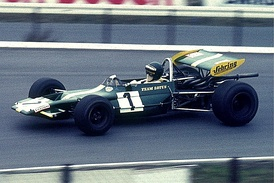 Jochen Rindt driving a Formula 2 Lotus  in 1970 at the Nürburgring