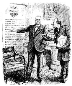 "Encourage Home Industries. Lord Robert Cecil. ""I trust that after all we may secure at least your qualified support for our League of Nations?"" U.S.A. President-elect: ""Why, what's the matter with ours?""  Cartoon from Punch magazine, 10 November 1920, depicting Cecil advocating a design for the League of Nations to Warren G. Harding"