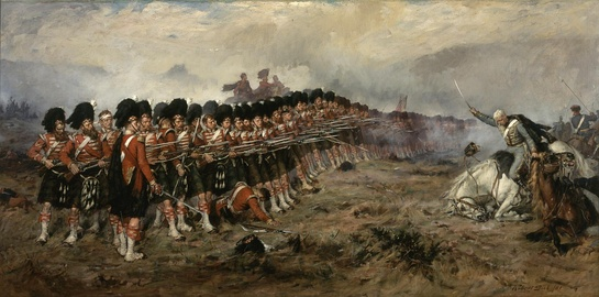 Robert Gibb's 1881 painting, The Thin Red Line, depicting The Thin Red Line at the Battle of Balaclava (1854), when a line of the Scottish Highland infantry repulsed a Russian cavalry charge. The name was given by the British press as a symbol of courage against the odds.