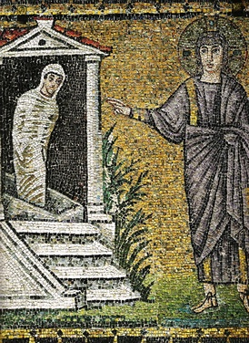 A sixth-century mosaic of the Raising of Lazarus, church of Sant'Apollinare Nuovo, Ravenna, Italy.
