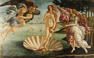 The Birth of Venus (1486, Uffizi) is a classic representation of femininity painted by Sandro Botticelli.[13][14] Venus was a Roman goddess principally associated with love, beauty and fertility.