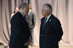 Walker and U.S. Secretary of State Rex Tillerson at the Arctic Council Ministerial Meeting, May 2017