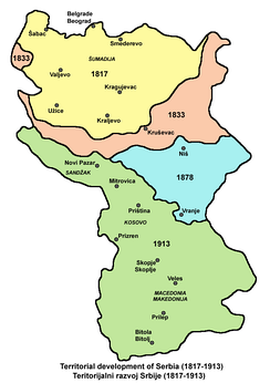 Territorial development of the Principality of Serbia and Kingdom of Serbia (1817–1913).
