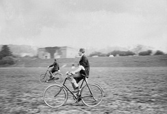 Officers of the Royal Artillery playing polo on bicycles, ca 1910