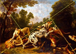 Example of Golden Triangle method on a painting. Compositional elements fall within the triangles