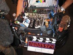 Sound technician with mixer, boom, slate and multiple wireless mic transmitters and receivers at San Diego Comic Con 2011