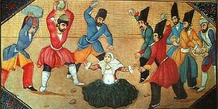 Mid-19th century illustration from Qajar Persia showing the stoning of a woman accused of adultery