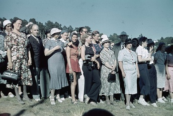 People gathered at sport event in 1938 (Sweden).