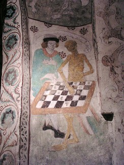 Medieval painting of Death playing chess from Täby Church in Sweden