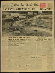 Front page of 26 December 1953 reporting the Tangiwai great railway disaster