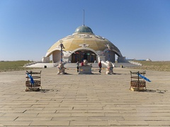 Temple of the White Sulde of Genghis Khan in the town of Uxin in Inner Mongolia, in the Mu Us Desert. Religion in Inner Mongolia blends Chinese and Mongolian folk religious traditions.