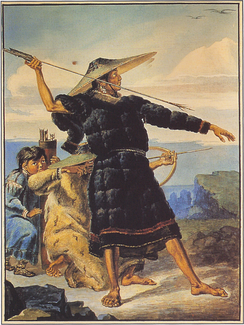 Aleut in Festival Dress in Alaska, watercolor by Mikhail Tikhanov, 1818